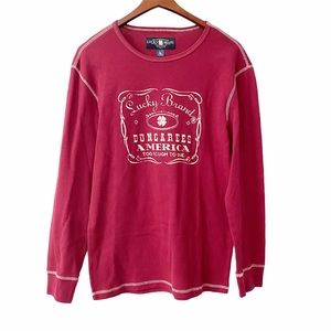 Lucky Brand Red Long Sleeve Waffle Knit Shirt L